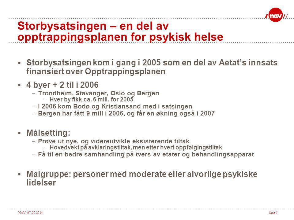 NAV, 07.07.2014Side 5 Storbysatsingen – en del av opptrappingsplanen for psykisk helse  Storbysatsingen kom i gang i 2005 som en del av Aetat's innsa