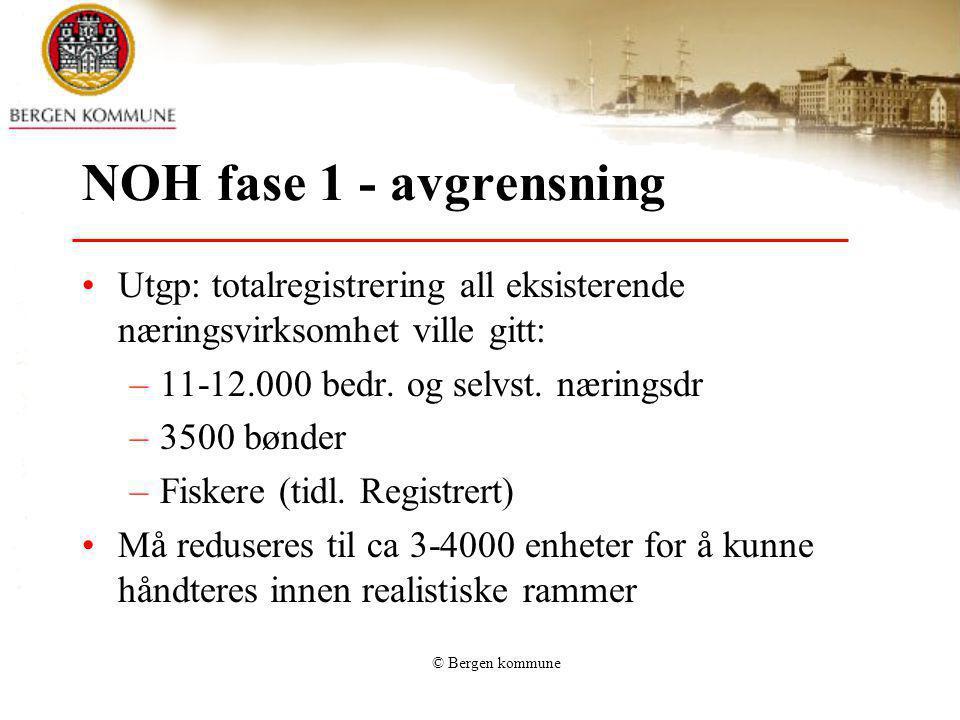 © Bergen kommune NOH fase 1 - avgrensning Utgp: totalregistrering all eksisterende næringsvirksomhet ville gitt: –11-12.000 bedr. og selvst. næringsdr