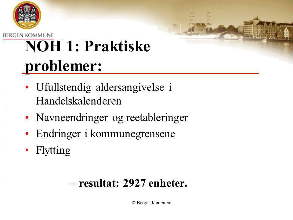 © Bergen kommune NOH 1: Praktiske problemer: Ufullstendig aldersangivelse i Handelskalenderen Navneendringer og reetableringer Endringer i kommunegren