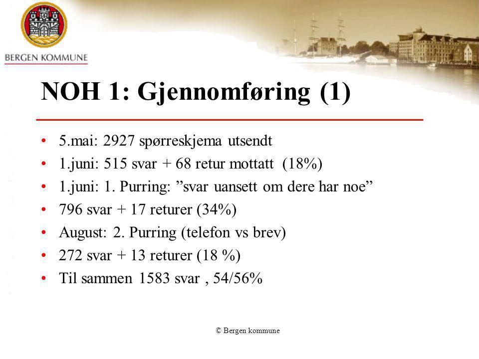 """© Bergen kommune NOH 1: Gjennomføring (1) 5.mai: 2927 spørreskjema utsendt 1.juni: 515 svar + 68 retur mottatt (18%) 1.juni: 1. Purring: """"svar uansett"""