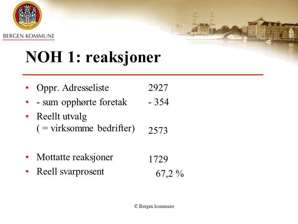 © Bergen kommune NOH 1: reaksjoner Oppr. Adresseliste - sum opphørte foretak Reellt utvalg ( = virksomme bedrifter) Mottatte reaksjoner Reell svarpros