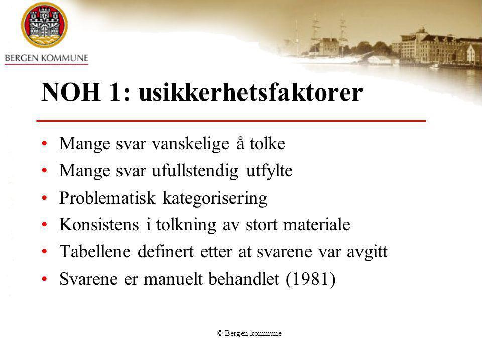 © Bergen kommune NOH 1: usikkerhetsfaktorer Mange svar vanskelige å tolke Mange svar ufullstendig utfylte Problematisk kategorisering Konsistens i tol