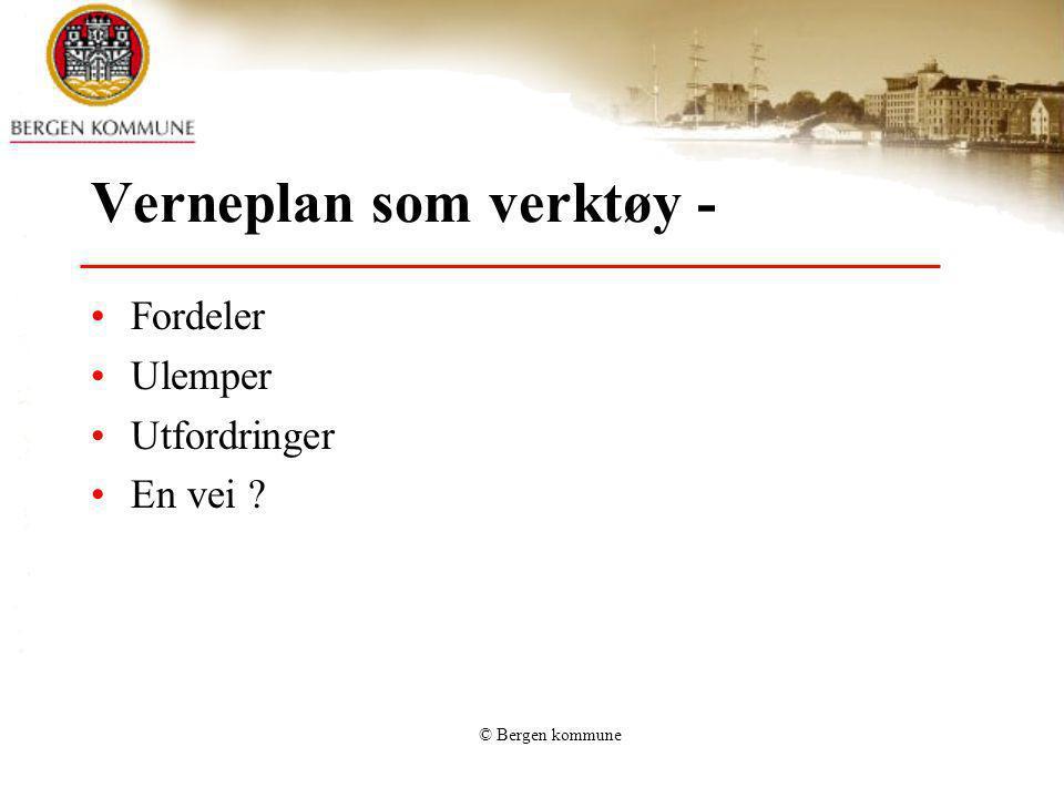 © Bergen kommune NOH 3 konklusjoner Ingen totalregistrering Ingen registrering av nedlagte organisasjoner Stipulering: ca 6000 org i hele fylket har mellom 15.000 og 20.000 hm arkivmateriale, det meste i Bergen