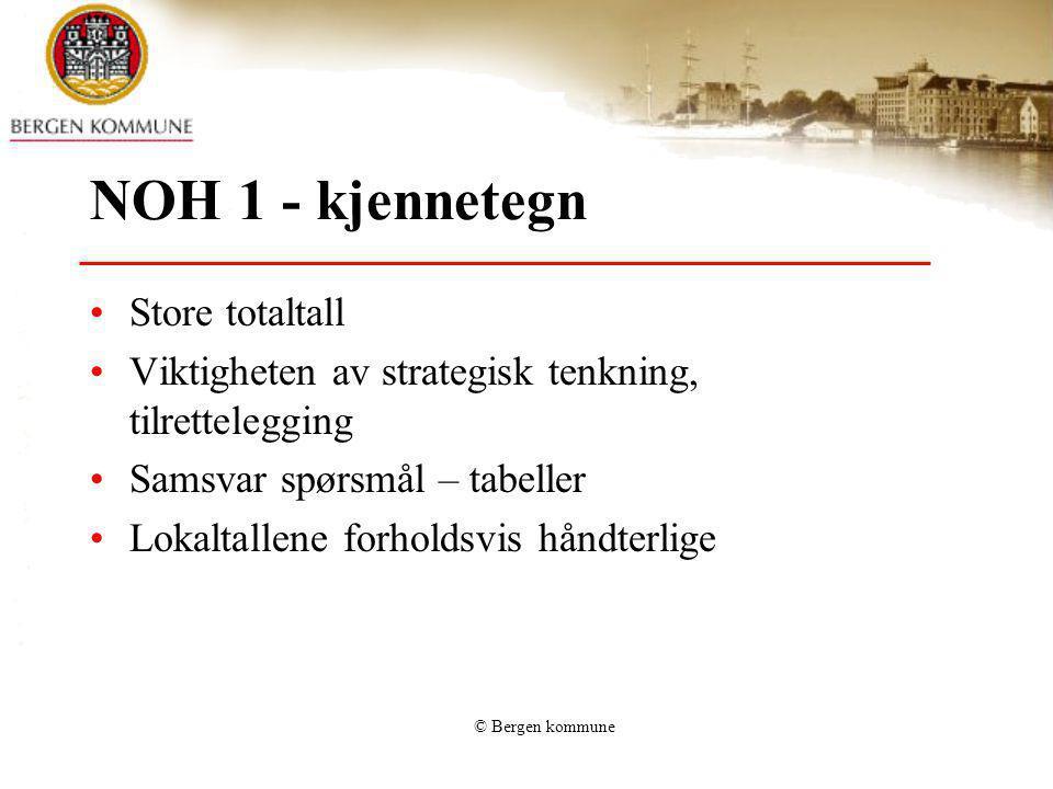 © Bergen kommune NOH 1 - kjennetegn Store totaltall Viktigheten av strategisk tenkning, tilrettelegging Samsvar spørsmål – tabeller Lokaltallene forho