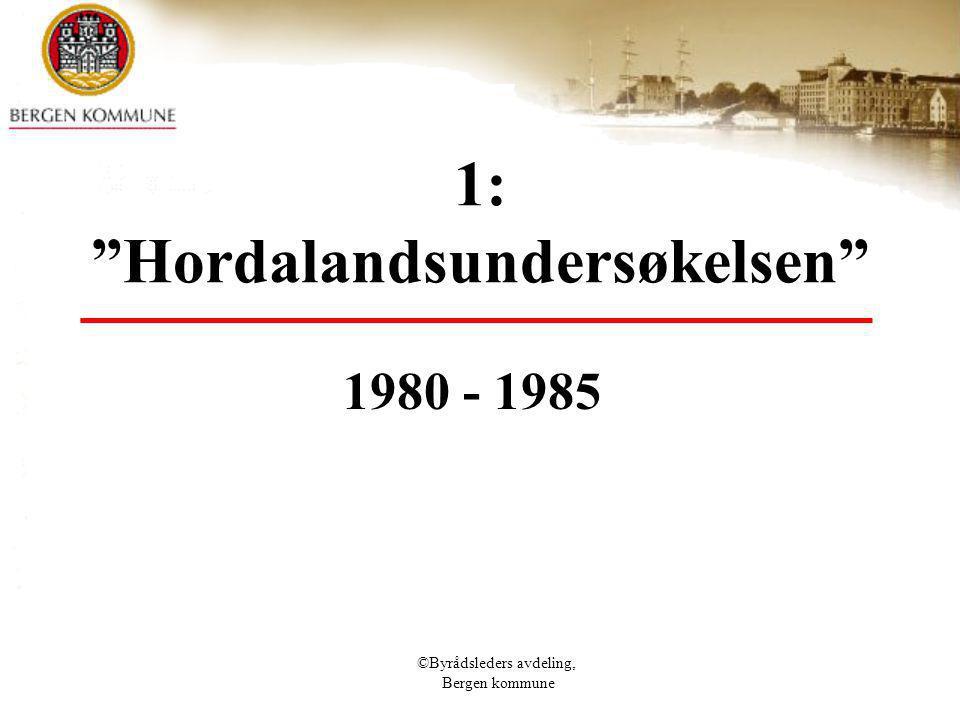 © Bergen kommune NOH 3 resultater Bergen (1) 819 svar 194 svarer ikke arkiv (10%) eller oppgir ikke alder 44 har arkiv fra før 1900 (5,3%) 110 har arkiv fra 1900 – 1944 (13,4%) 84 har arkiv fra 1945 – 1959 (10,3%) 291 har arkiv fra 1960 – 1979 (35,5%) 96 har arkiv fra 1980 – 1984 (11,7 %)