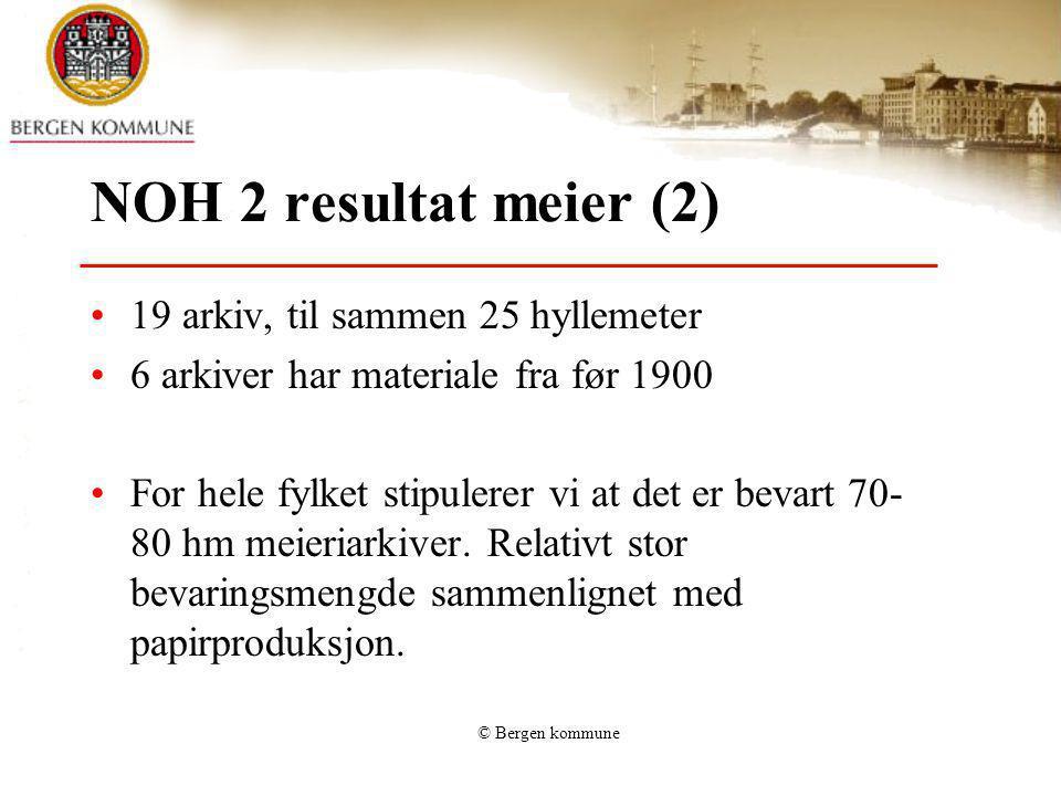 © Bergen kommune NOH 2 resultat meier (2) 19 arkiv, til sammen 25 hyllemeter 6 arkiver har materiale fra før 1900 For hele fylket stipulerer vi at det