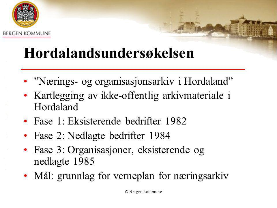 © Bergen kommune NOH 3 resultat Bergen (2) Av 819: 589 har styreprotokoller72% 85 har kopibøker10% 163 har journaler20% 606 har korrespondanse74% 628 har regnskapsmateriale77% 604 har årsmeldinger74% 208 har jubileumsskrifter25% 309 har medlemslister (NB kun fra 1.purring!)37,7% 277 har annet (foto (8%), trykt, lyd, etc.)33,8 De fleste oppgir 4-6 arkivserier