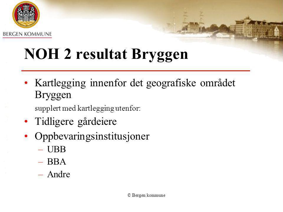 © Bergen kommune NOH 2 resultat Bryggen Kartlegging innenfor det geografiske området Bryggen supplert med kartlegging utenfor: Tidligere gårdeiere Opp