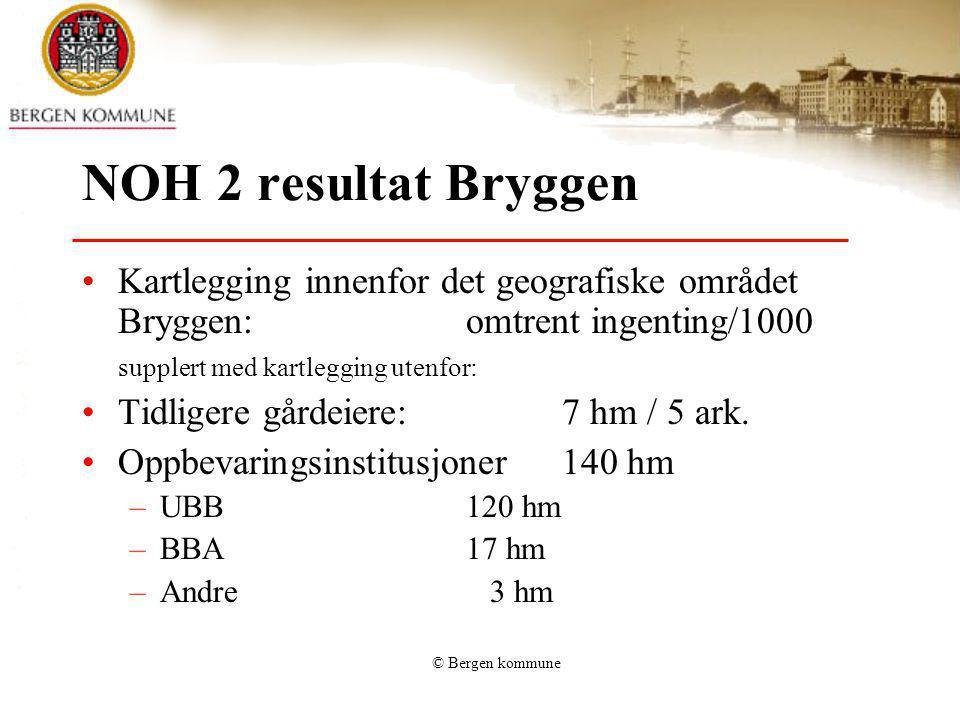 © Bergen kommune NOH 2 resultat Bryggen Kartlegging innenfor det geografiske området Bryggen: omtrent ingenting/1000 supplert med kartlegging utenfor: