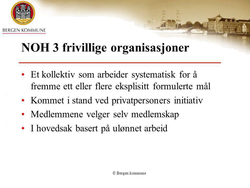 © Bergen kommune NOH 3 frivillige organisasjoner Et kollektiv som arbeider systematisk for å fremme ett eller flere eksplisitt formulerte mål Kommet i