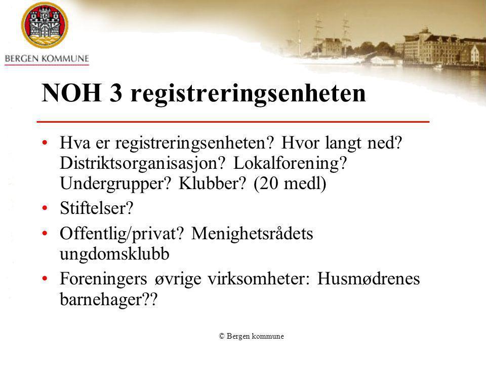 © Bergen kommune NOH 3 registreringsenheten Hva er registreringsenheten? Hvor langt ned? Distriktsorganisasjon? Lokalforening? Undergrupper? Klubber?