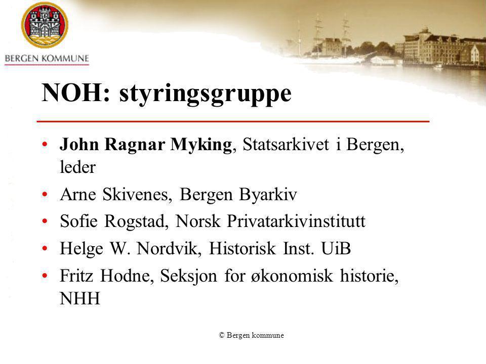 © Bergen kommune NOH resultater Bergen (3) Av 819: 33 har ikke oppgitt mengde40,4% 192 har arkiv under 1 hm23,4% 203 har arkiv mellom 1 og 5 hm24,9% 48 har arkiv mellom 5 og 10 hm 5,9% 35 har arkiv mellom 10 og 25 hm 4,3% 10 har arkiv over 25 hm 1,2%
