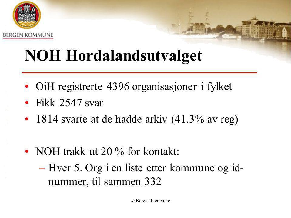 © Bergen kommune NOH Hordalandsutvalget OiH registrerte 4396 organisasjoner i fylket Fikk 2547 svar 1814 svarte at de hadde arkiv (41.3% av reg) NOH t