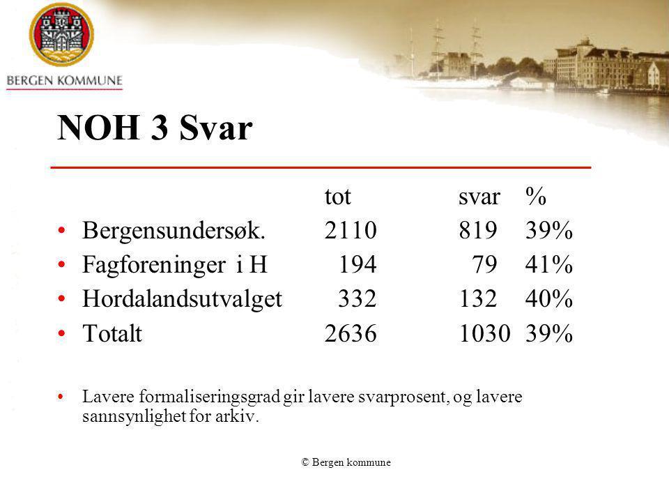 © Bergen kommune NOH 3 Svar totsvar% Bergensundersøk.211081939% Fagforeninger i H 194 7941% Hordalandsutvalget 33213240% Totalt2636103039% Lavere form