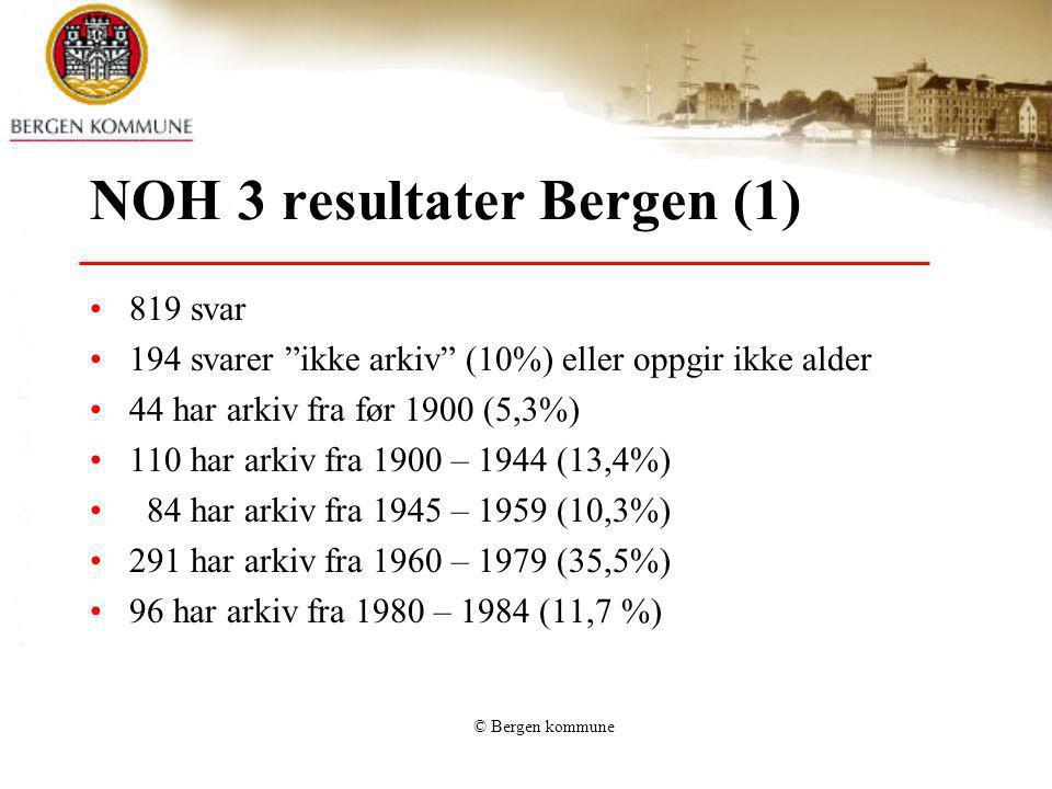 """© Bergen kommune NOH 3 resultater Bergen (1) 819 svar 194 svarer """"ikke arkiv"""" (10%) eller oppgir ikke alder 44 har arkiv fra før 1900 (5,3%) 110 har a"""