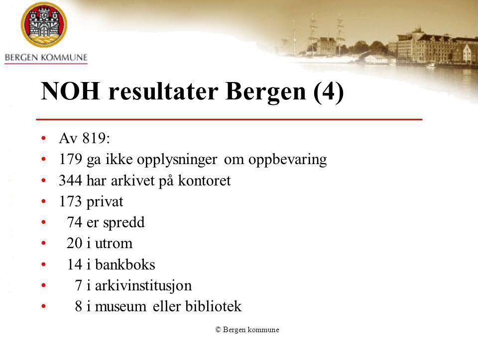 © Bergen kommune NOH resultater Bergen (4) Av 819: 179 ga ikke opplysninger om oppbevaring 344 har arkivet på kontoret 173 privat 74 er spredd 20 i ut