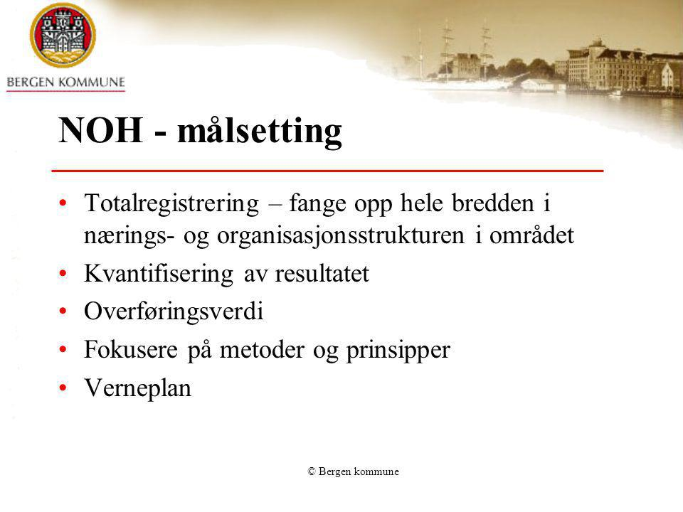 © Bergen kommune NOH - målsetting Totalregistrering – fange opp hele bredden i nærings- og organisasjonsstrukturen i området Kvantifisering av resulta