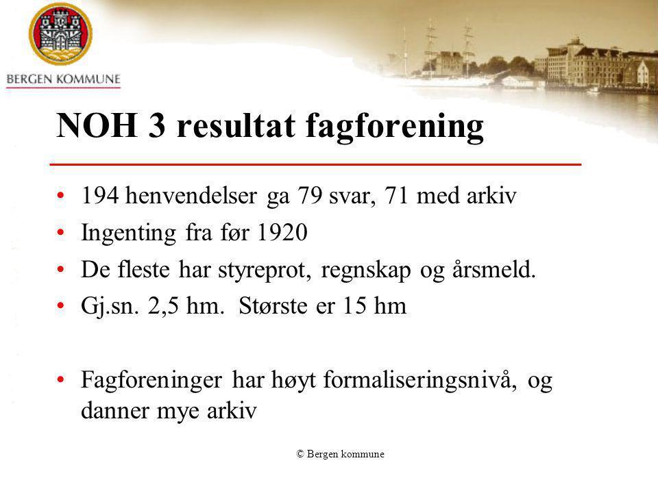 © Bergen kommune NOH 3 resultat fagforening 194 henvendelser ga 79 svar, 71 med arkiv Ingenting fra før 1920 De fleste har styreprot, regnskap og årsm