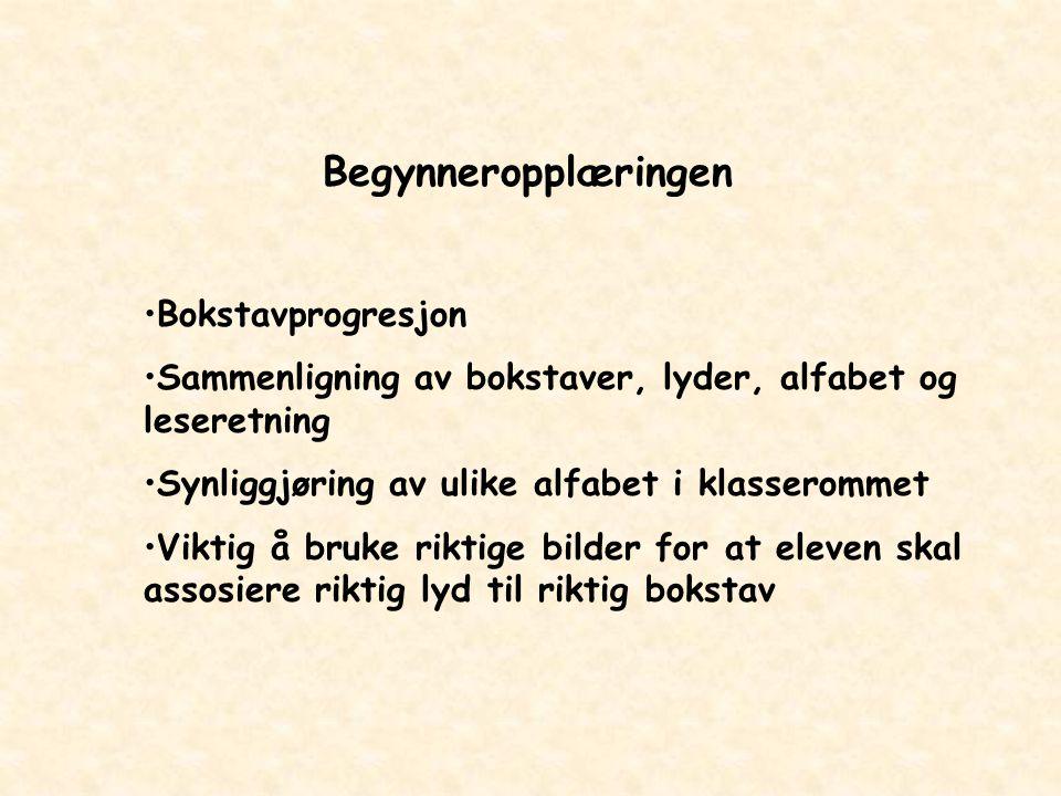 Begynneropplæringen Bokstavprogresjon Sammenligning av bokstaver, lyder, alfabet og leseretning Synliggjøring av ulike alfabet i klasserommet Viktig å