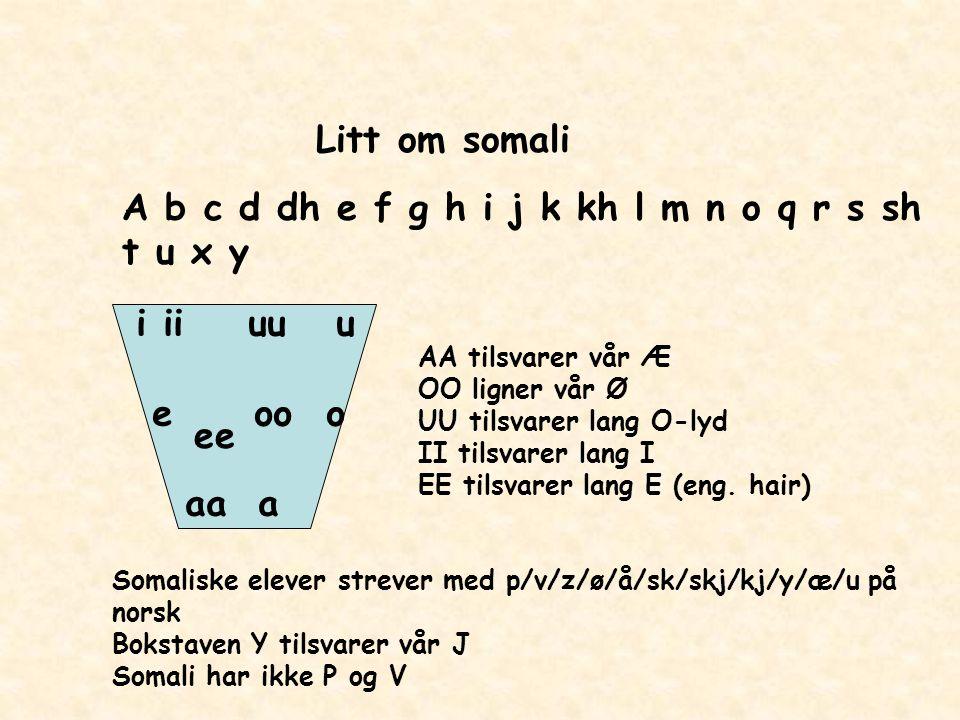 Litt om somali A b c d dh e f g h i j k kh l m n o q r s sh t u x y i ii uu u e oo o aa a ee AA tilsvarer vår Æ OO ligner vår Ø UU tilsvarer lang O-ly