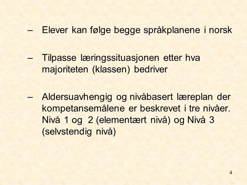 4 –Elever kan følge begge språkplanene i norsk –Tilpasse læringssituasjonen etter hva majoriteten (klassen) bedriver –Aldersuavhengig og nivåbasert læ