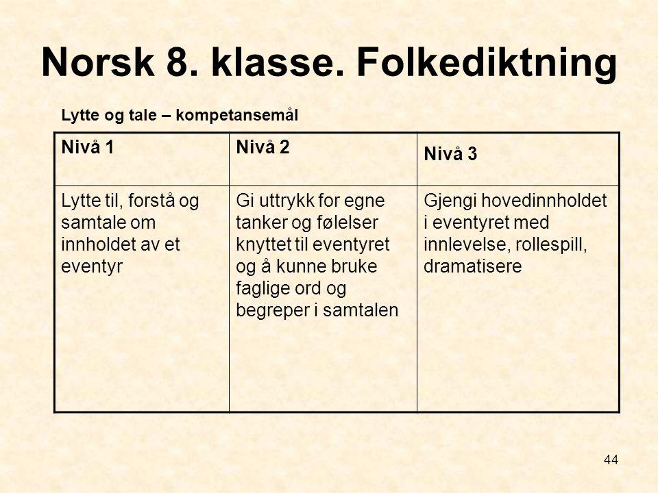 44 Norsk 8. klasse. Folkediktning Nivå 1Nivå 2 Nivå 3 Lytte til, forstå og samtale om innholdet av et eventyr Gi uttrykk for egne tanker og følelser k