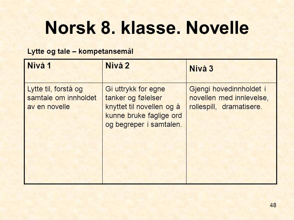 48 Norsk 8. klasse. Novelle Nivå 1Nivå 2 Nivå 3 Lytte til, forstå og samtale om innholdet av en novelle Gi uttrykk for egne tanker og følelser knyttet