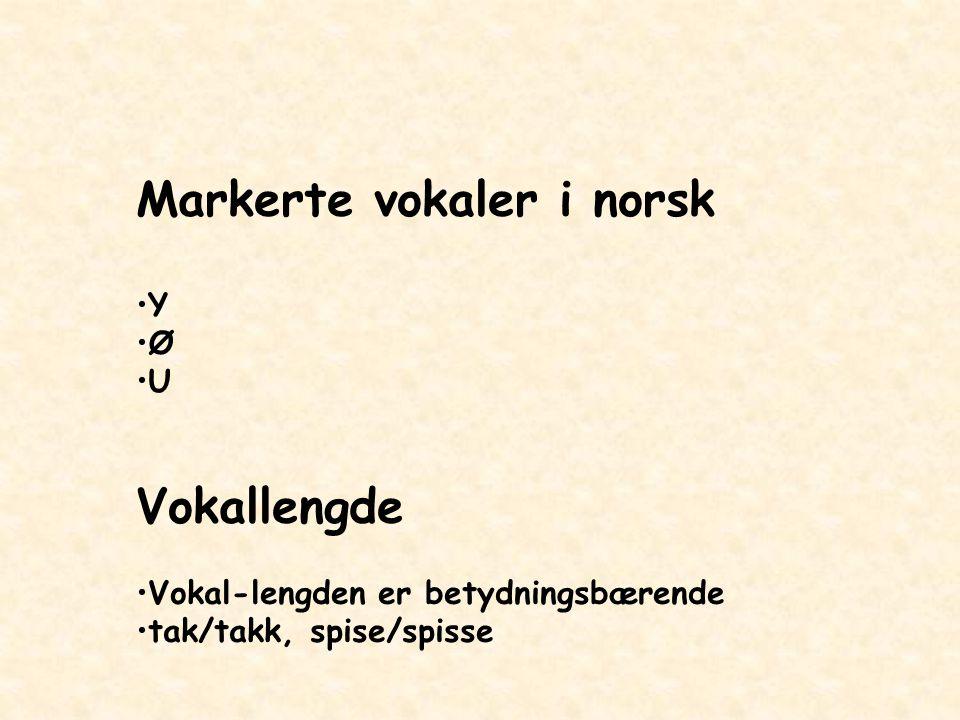 Markerte vokaler i norsk Y Ø U Vokallengde Vokal-lengden er betydningsbærende tak/takk, spise/spisse