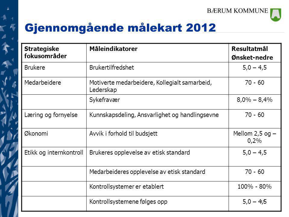 11 Gjennomgående målekart 2012 Strategiske fokusområder MåleindikatorerResultatmål Ønsket-nedre BrukereBrukertilfredshet5,0 – 4,5 MedarbeidereMotivert