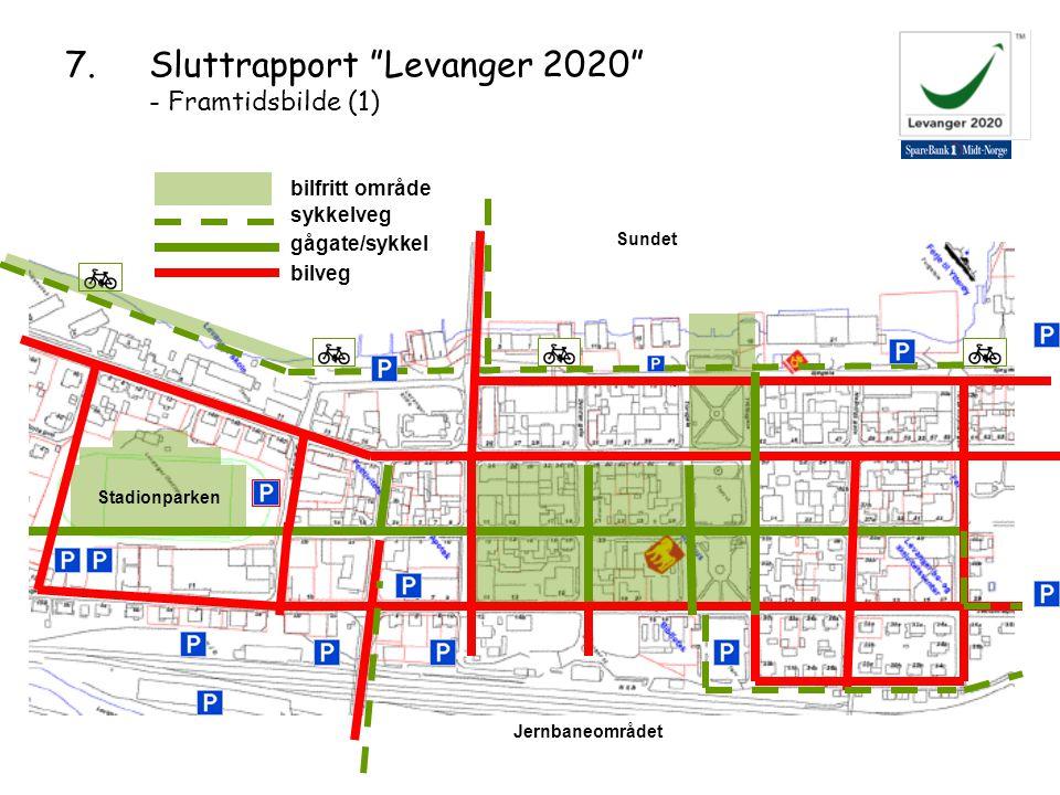 Jernbaneområdet Stadionparken Sundet sykkelveg gågate/sykkel bilveg bilfritt område 7.Sluttrapport Levanger 2020 - Framtidsbilde (1)