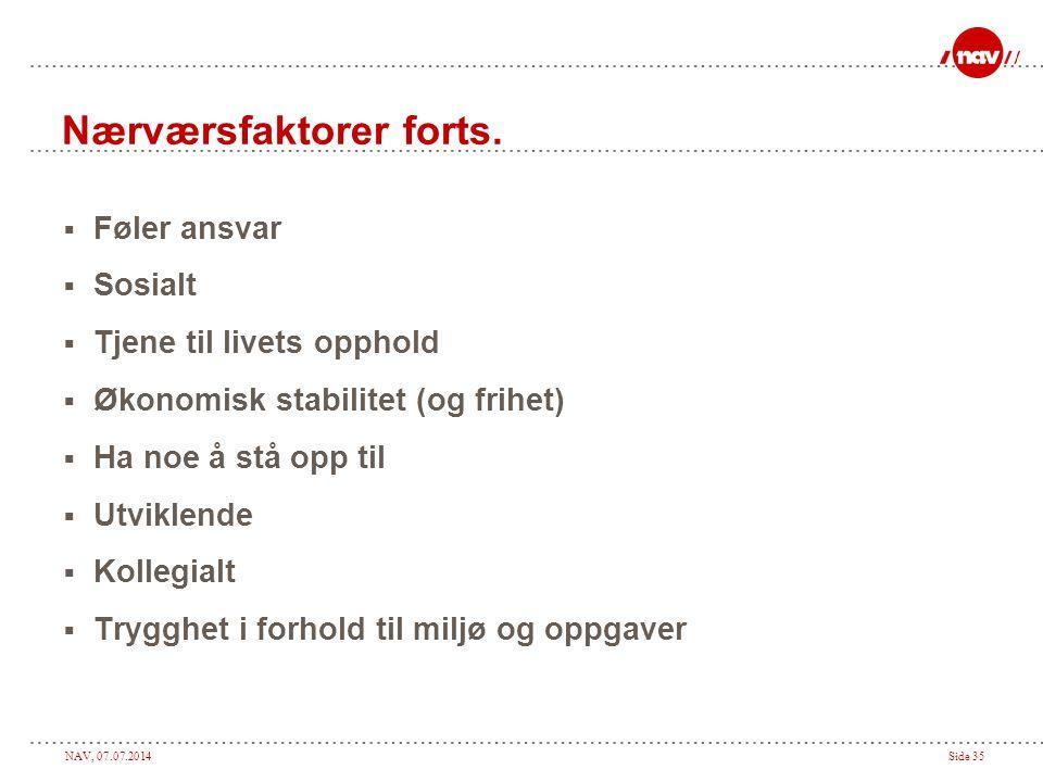 NAV, 07.07.2014Side 35 Nærværsfaktorer forts.