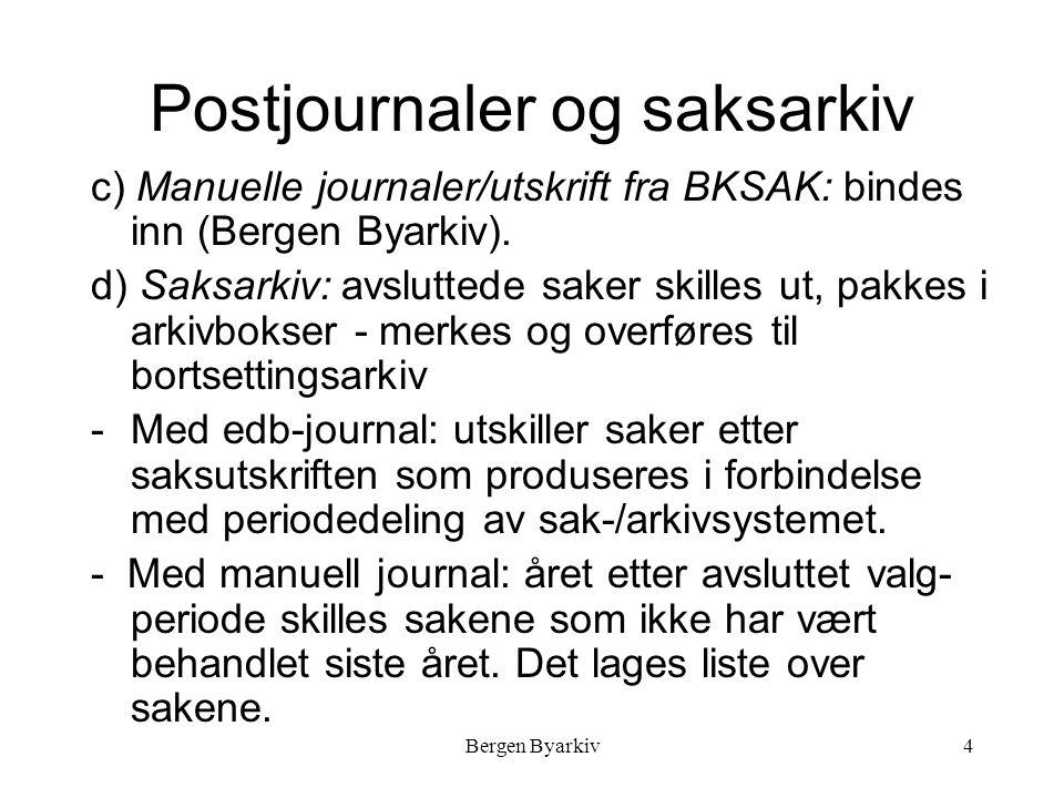 Bergen Byarkiv4 Postjournaler og saksarkiv c) Manuelle journaler/utskrift fra BKSAK: bindes inn (Bergen Byarkiv).