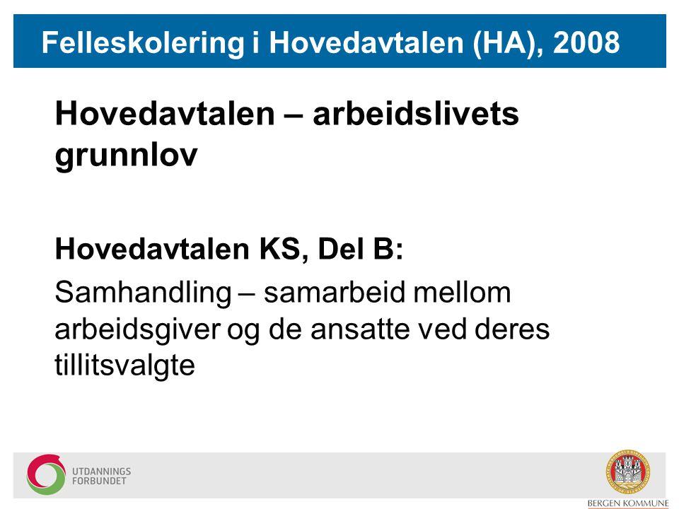 Felleskolering i Hovedavtalen (HA), 2008 Hovedavtalen – arbeidslivets grunnlov Hovedavtalen KS, Del B: Samhandling – samarbeid mellom arbeidsgiver og de ansatte ved deres tillitsvalgte