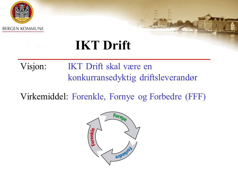 IKT Drift Visjon: IKT Drift skal være en konkurransedyktig driftsleverandør Virkemiddel: Forenkle, Fornye og Forbedre (FFF)