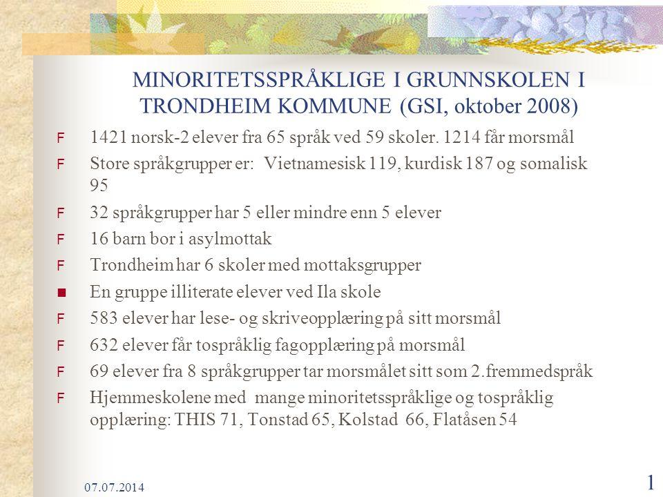 07.07.2014 1 MINORITETSSPRÅKLIGE I GRUNNSKOLEN I TRONDHEIM KOMMUNE (GSI, oktober 2008) F 1421 norsk-2 elever fra 65 språk ved 59 skoler.
