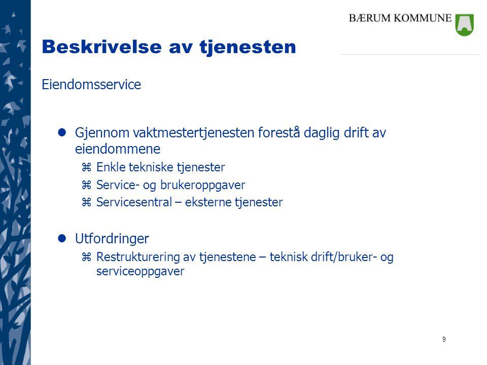 9 Beskrivelse av tjenesten Eiendomsservice lGjennom vaktmestertjenesten forestå daglig drift av eiendommene zEnkle tekniske tjenester zService- og bru