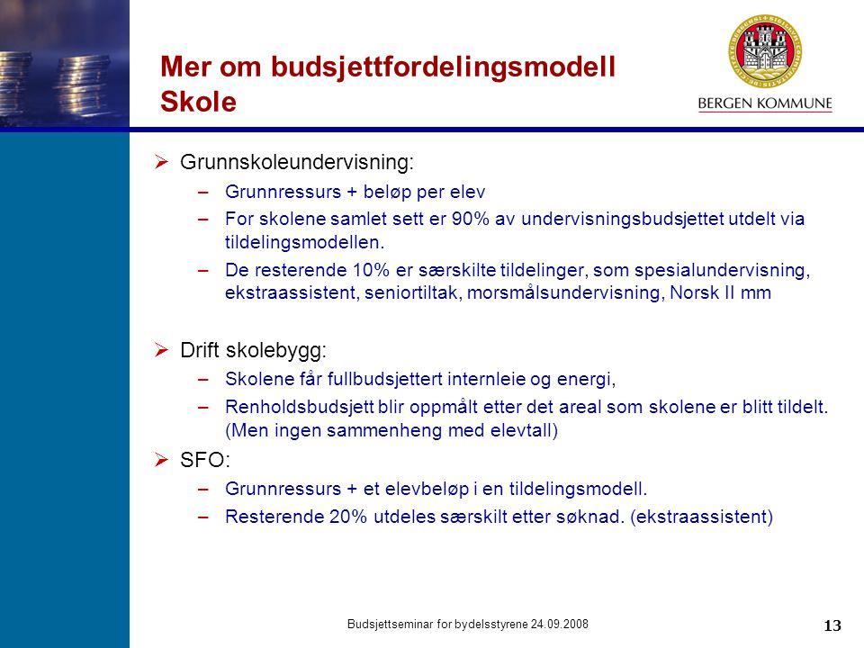 13 Budsjettseminar for bydelsstyrene 24.09.2008 Mer om budsjettfordelingsmodell Skole  Grunnskoleundervisning: –Grunnressurs + beløp per elev –For sk