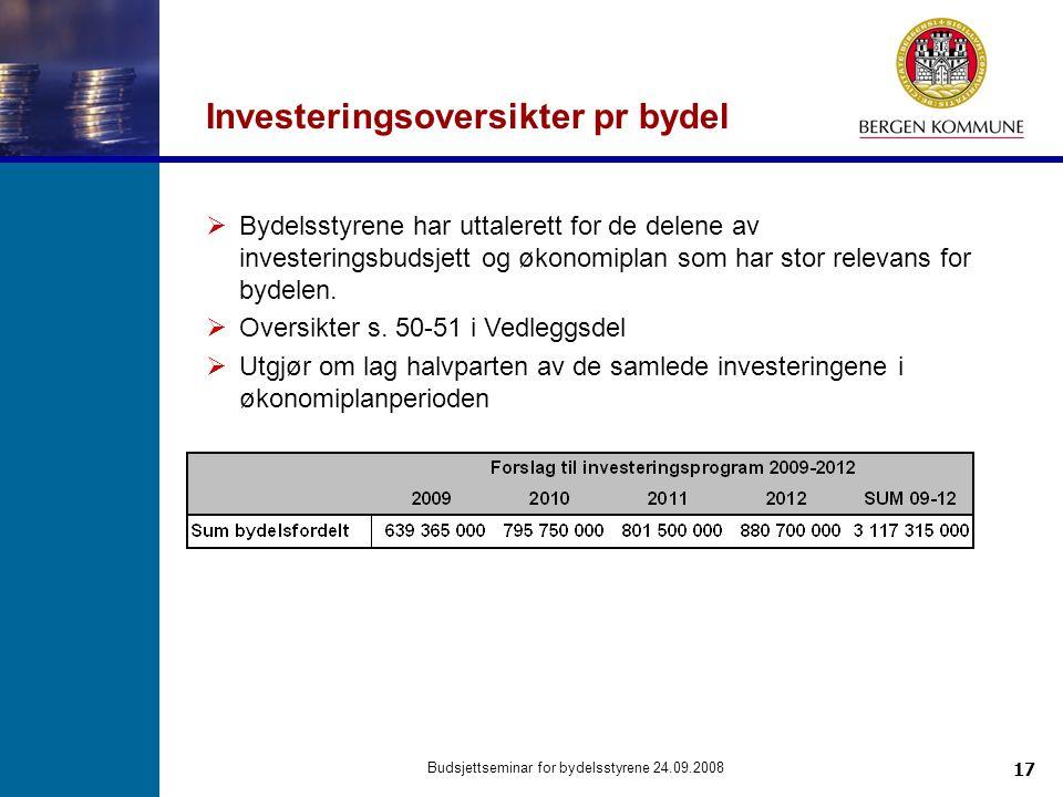 17 Budsjettseminar for bydelsstyrene 24.09.2008 Investeringsoversikter pr bydel  Bydelsstyrene har uttalerett for de delene av investeringsbudsjett og økonomiplan som har stor relevans for bydelen.