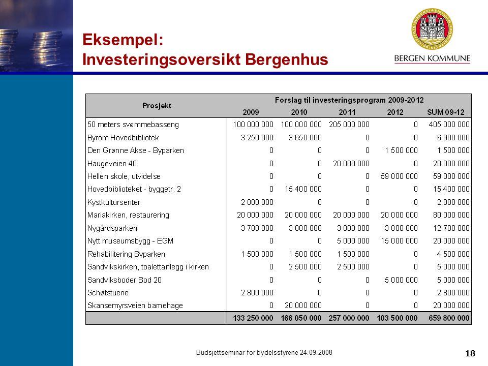 18 Budsjettseminar for bydelsstyrene 24.09.2008 Eksempel: Investeringsoversikt Bergenhus
