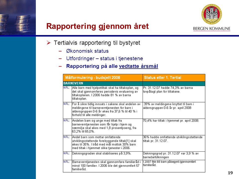 19 Budsjettseminar for bydelsstyrene 24.09.2008 Rapportering gjennom året  Tertialvis rapportering til bystyret –Økonomisk status –Utfordringer – sta