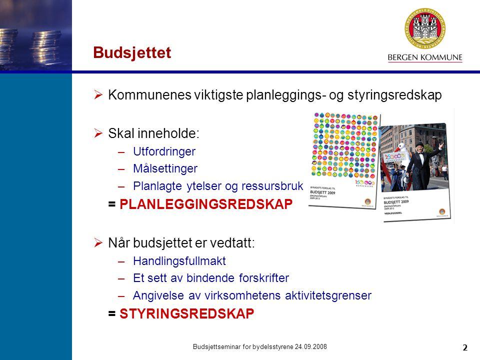23 Budsjettseminar for bydelsstyrene 24.09.2008 Spørsmål om budsjettet?