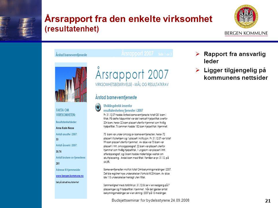 21 Budsjettseminar for bydelsstyrene 24.09.2008 Årsrapport fra den enkelte virksomhet (resultatenhet)  Rapport fra ansvarlig leder  Ligger tilgjenge