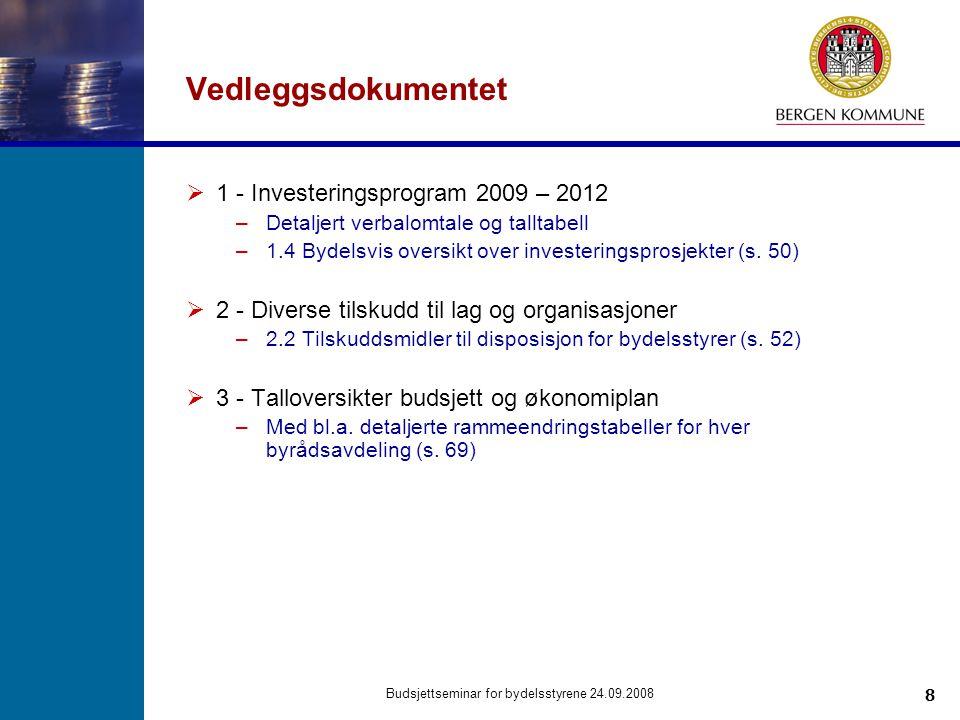 8 Budsjettseminar for bydelsstyrene 24.09.2008 Vedleggsdokumentet  1 - Investeringsprogram 2009 – 2012 –Detaljert verbalomtale og talltabell –1.4 Byd