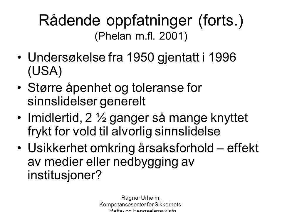 Ragnar Urheim, Kompetansesenter for Sikkerhets-, Retts- og Fengselspsykiatri Hva vet vi (forts.) 17 % av drap i Norge er utøvd av personer ikke blir funnet tilregnelige på grunn av alvorlig sinnslidelse (ca 10 % schizofrene) Under 10% av drap i England begått av personer med psykosediagnose Det absolutte tallet synes ikke å øke over tid Det absolutte omfanget av slik vold synes å være likt i ulike nasjoner