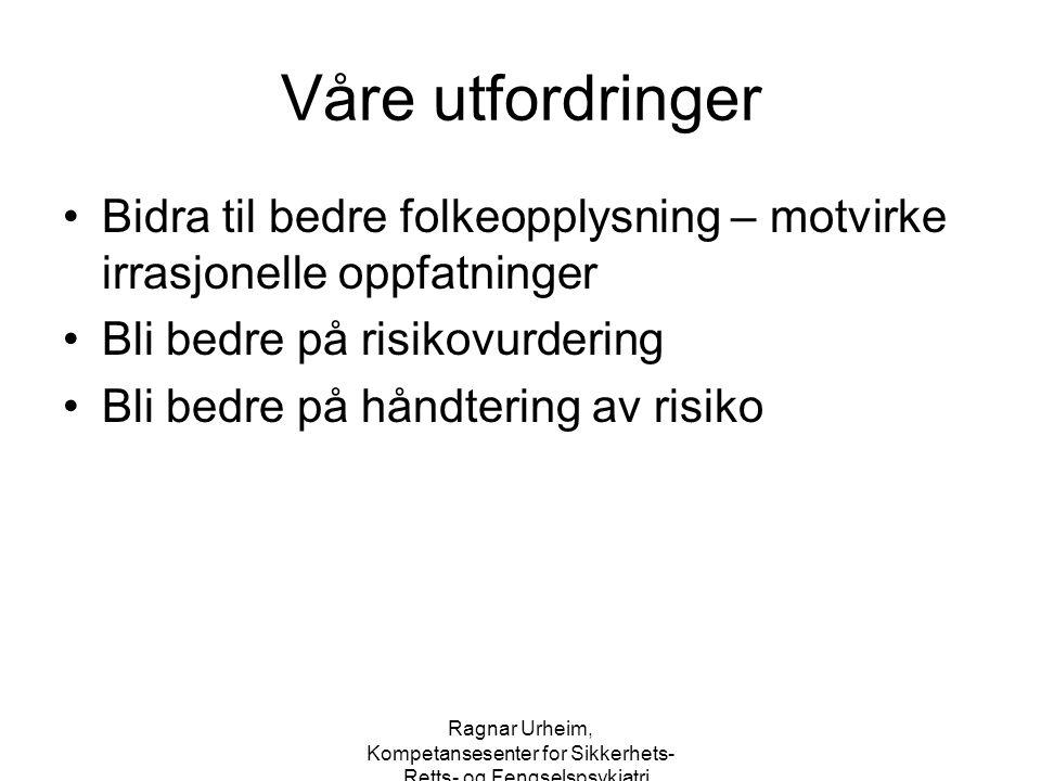 Ragnar Urheim, Kompetansesenter for Sikkerhets-, Retts- og Fengselspsykiatri Eksempler på situasjonsfaktorer – forts.