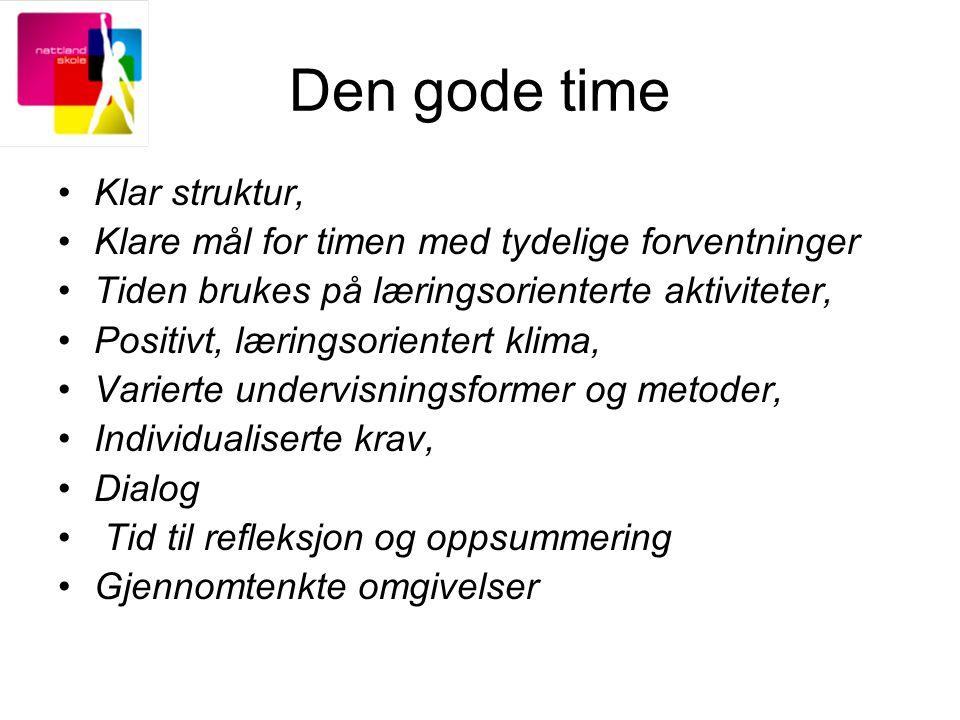 Den gode time Klar struktur, Klare mål for timen med tydelige forventninger Tiden brukes på læringsorienterte aktiviteter, Positivt, læringsorientert