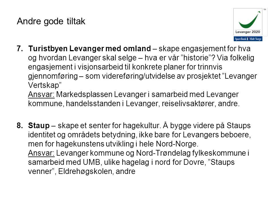"""7.Turistbyen Levanger med omland – skape engasjement for hva og hvordan Levanger skal selge – hva er vår """"historie""""? Via folkelig engasjement i visjon"""