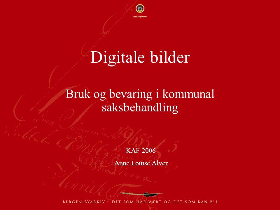 Digitale bilder Bruk og bevaring i kommunal saksbehandling KAF 2006 Anne Louise Alver