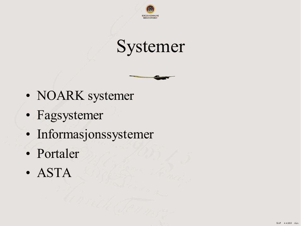 Systemer NOARK systemer Fagsystemer Informasjonssystemer Portaler ASTA KAF 4.4.2006 ALA