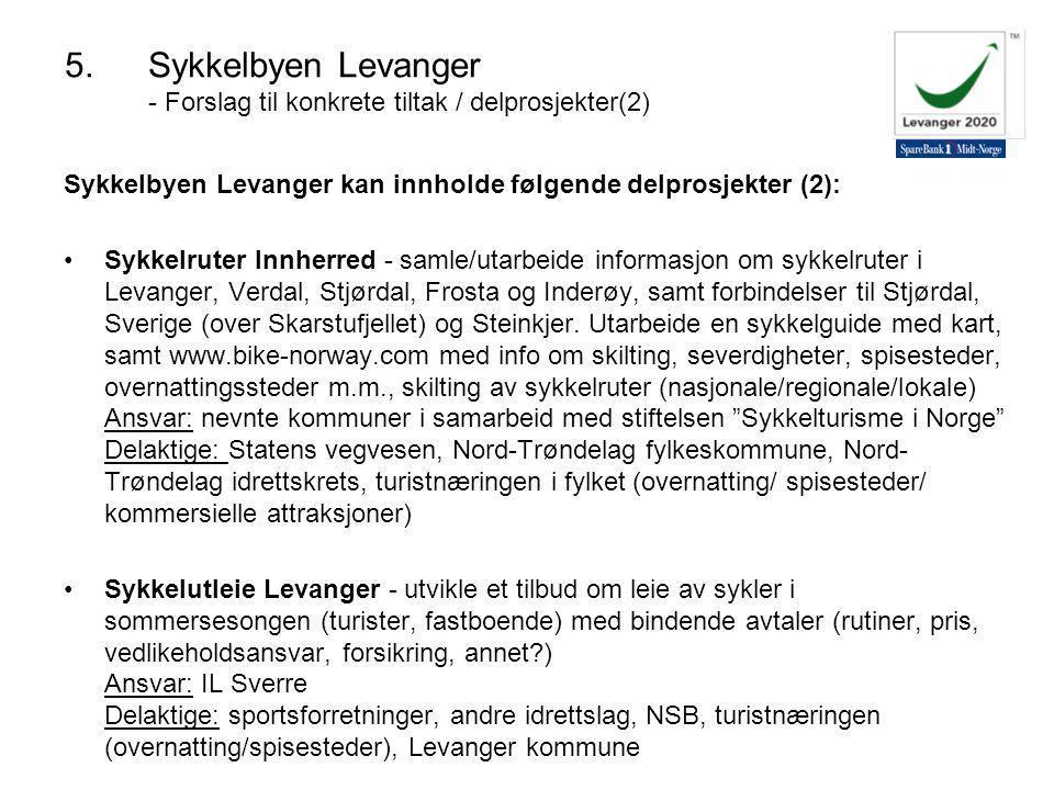 Sykkelbyen Levanger kan innholde følgende delprosjekter (2): Sykkelruter Innherred - samle/utarbeide informasjon om sykkelruter i Levanger, Verdal, Stjørdal, Frosta og Inderøy, samt forbindelser til Stjørdal, Sverige (over Skarstufjellet) og Steinkjer.